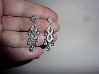 Серебряные  серьги-подвески с топазами и бриллианта