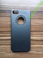 Черный Чехол накладка сердечко для iPhone 5/5s