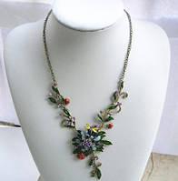 Стильное бронзовое ожерелье с цветами и эмалью