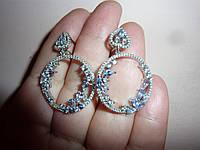 Серебряные серьги-кольца с танзанитами