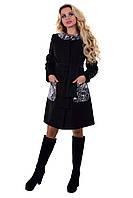 Женское пальто с кожаными вставками арт. Силена комби