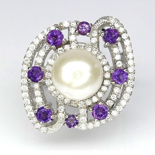 Красивое серебряное Кольцо с натуральными АМЕТИСТАМИ, ЖЕМЧУГОМ и фианитами / Рубиновая Мечта
