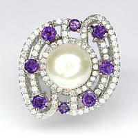 Красивое серебряное Кольцо с натуральными АМЕТИСТАМИ, ЖЕМЧУГОМ и фианитами / Рубиновая Мечта, фото 1