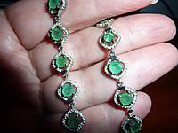 Элегантный  серебряный браслет с изумрудами