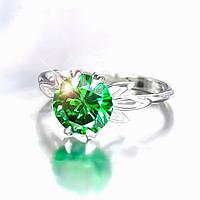 """Серебряное кольцо """"Кристалл"""" с зеленым кубическим цирконием"""