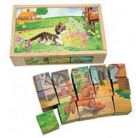"""Кубики """"Домашние животные"""" Деревянные развивающие игрушки"""