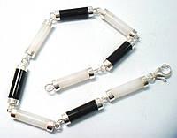 Элегантный серебряный  браслет с черным и белым ониксом