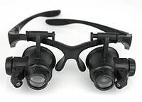 Лупа-очки бинокулярная, с LED подсветкой, 10Х 15Х 20Х 25Х кратное увеличение