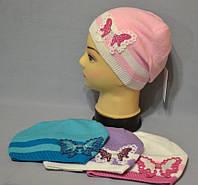 """Вязаная шапка с бабочкой для девочки """"Бриз"""""""