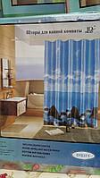 Голубая шторка для ванной комнаты, 180х180 см., 110/98 (цена за 1 шт. + 12 гр.)