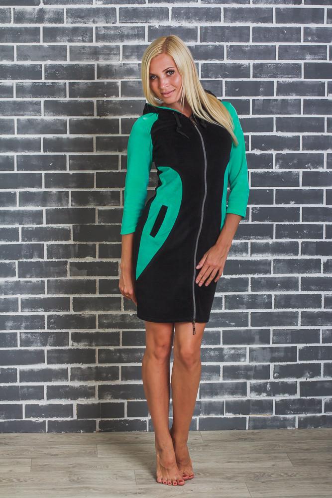 Домашний женский велюровый халат зеленый