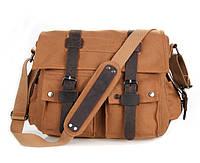 """Мужская сумка на плечо кожа с брезентом """"Travel bag"""", цвет песок"""