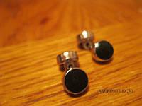 Запонки женские маленькие как новые серебряно-черные фирменные, фото 1