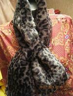 Воротник  шарф меховой мягкий фирменный пушистый под леопарда