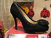 Туфли женские черные замшевые с розочкой 35р модельные, фото 2