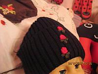 Шапочка шапка черная цветочки 56р!58мала хорошая