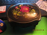 ШКАТУЛКА коробка органайзер пластмассовая СССР черная РУЧНАЯ РОСПИСЬ