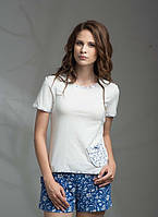 Піжама Жіноча TM ELLEN з шортами Синьо-Білі Квіти