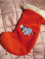 Носок декор красный для подарка отДеда Мороза Санты НОВЫЙ ГОД рождество игрушка с осликом Британия