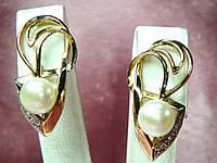 Серьги золотые 585 пробы с жемчугом инкрустированные циркониями с белым золотом
