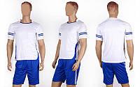 Форма футбольная без номера CO-1603-W (PL, р-р M-XL, белый, шорты синие)