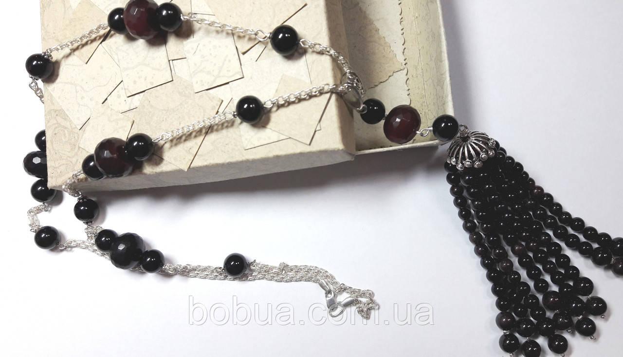 Длинные бусы - сотуар  «Гранат с черным агатом»