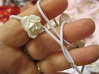 Повязка обруч заколка белая нежная резинка цветочки цветы розочки