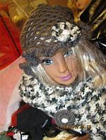 Шикарный набор шапка и шарфик серо-белый хендмейд