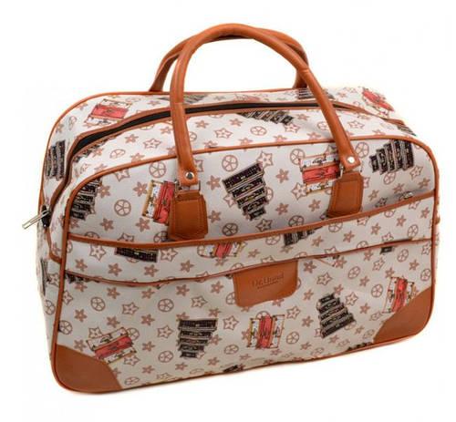 Современная дорожная сумка 38L, искусственная кожа dr.Bond 6601-2 beige-2 бежевый/принт