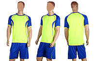 Форма футбольная без номера CO-1604-LG (PL, р-р M-XL, салатовый, шорты синие)