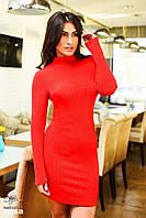 Ангоровое платье рубчик со стойким воротом