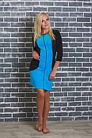 Женский домашний велюровый халат голубой