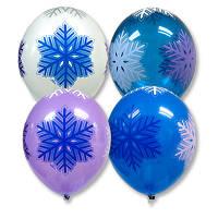 """Латексные воздушные шары BELBAL Бельгия пастель с рисунком 14 дюймов/36 см,""""Снежинки"""", шелкография 5 ст, 25 шт"""
