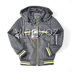 Детская куртка для мальчика серого цвета 7-8 лет