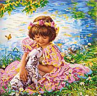 Схема для вышивки бисером  Девочка с собачкой, размер 35х35 см