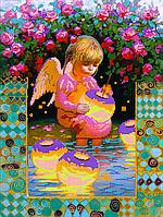 Схема для вышивки бисером Девочка-Ангел, размер 30х40 см