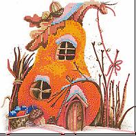 Схема для вышивки бисером  Домик-тыква, размер 21х21 см