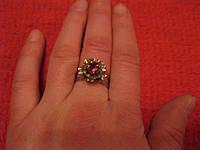 Кольцо под старину размер регулируется с камнем