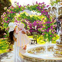 Схема для вышивки бисером У фонтана, размер 25х25 см