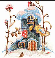Схема для вышивки бисером  Домик-валенок, размер 21х21 см
