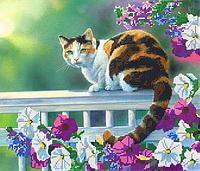 Схема для вышивки бисером Кот в цветах, размер 35х30 см
