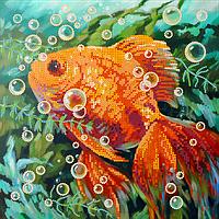 Схема для вышивки бисером Золотая рыбка, размер 25х25 см