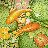 Схема для вышивки бисером Золотые рыбки, размер 28х28 см