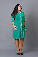 Платье мод №505-3, размер 48 бирюза