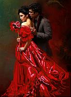 Схема для вышивки бисером Девушка в красном, размер 25х34 см