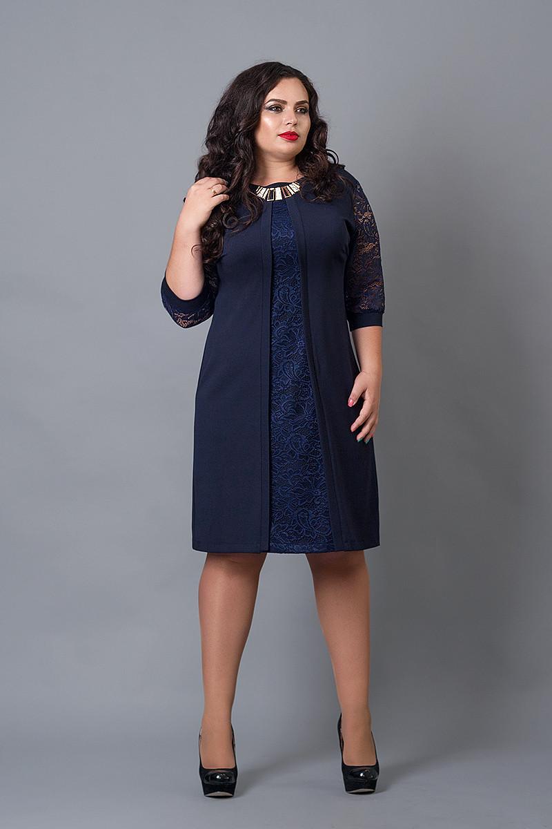 Платье мод №505-4, размер 52-54 темно-синее