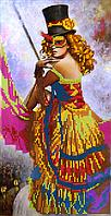 Схема для вышивки бисером Таинственная девушка, размер 18х35 см
