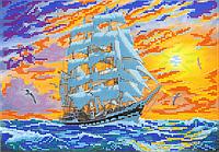 Схема для вышивки бисером Закат в море, размер 30х21 см