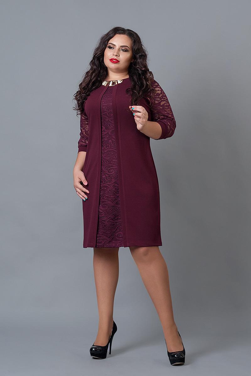 Платье мод №505-5, размер 56 бордо