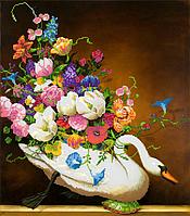 Схема для вышивки бисером Лебедь с цветами, размер 35х40 см